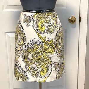 Ann Taylor Madison skirt yellow paisley 12P 79